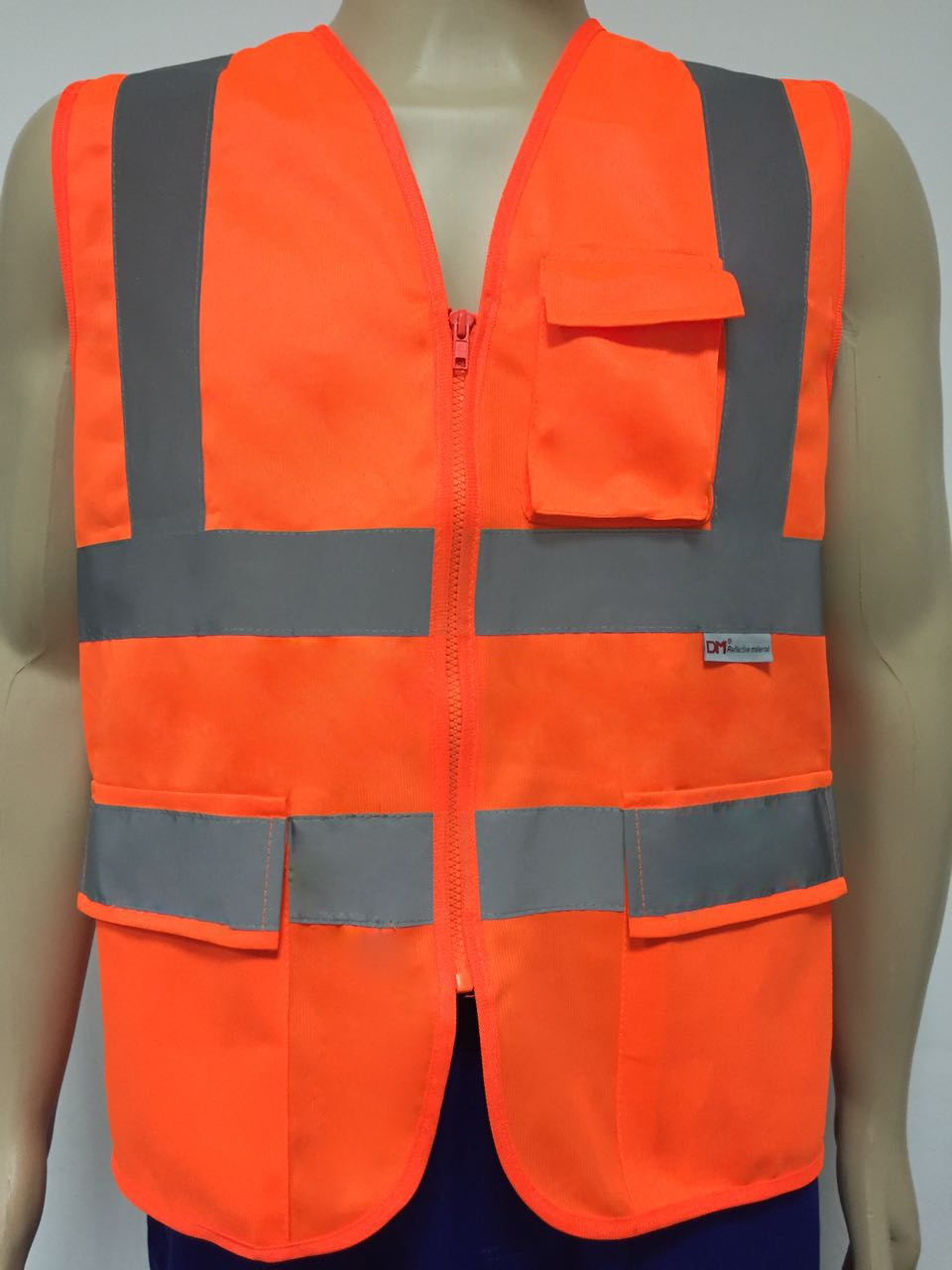 Colete de segurança refletivo laranja com 3 bolsos