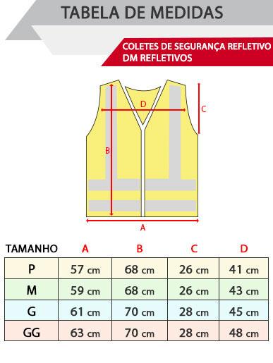 Tabela de medidas de coletes de segurança refletivos