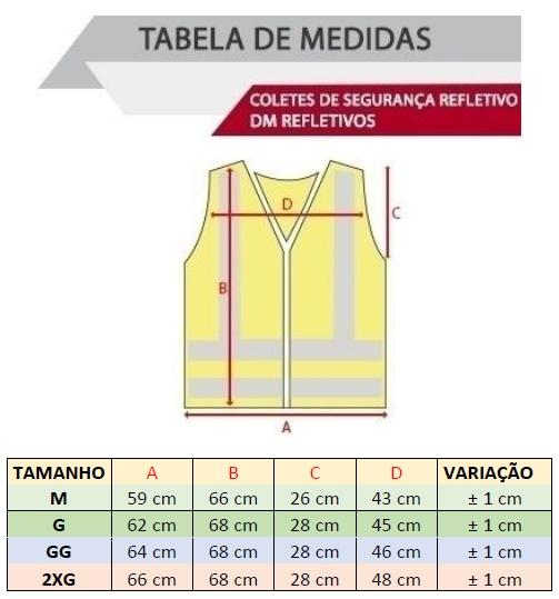 Tabela de Medidas Colete